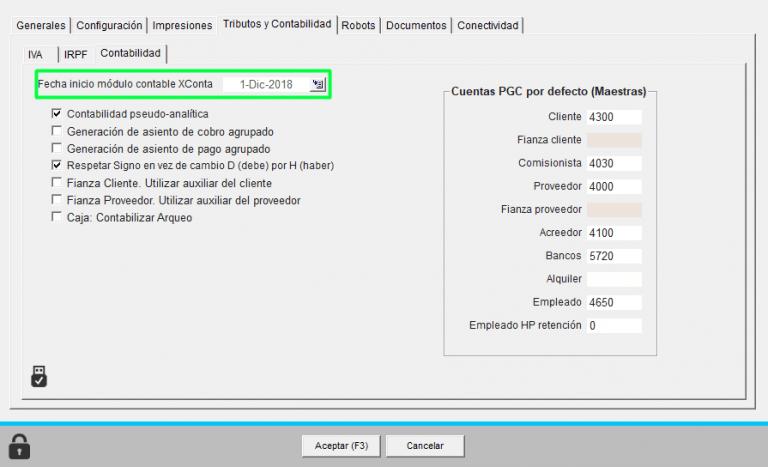 fechas inicio contable módulo Xconta